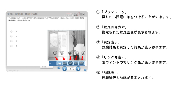 トラベル英語 理解度チェックテスト画面操作方法